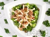 Рецепта Салата от спанак, соеви кълнове, риба тон и козе сирене